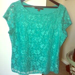 FEVER 4/$25‼️sea green/ blue lace shell blouse